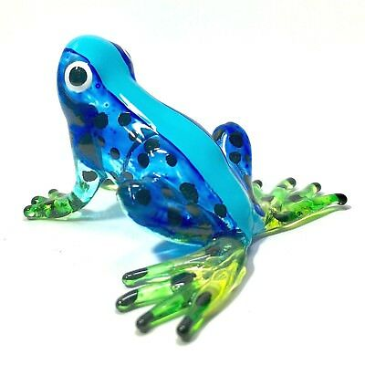 Miniature Glass Beautiful Blue Frog Statue Animal Figurine Collectibles Decor