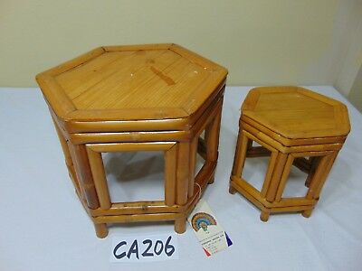 "2 Vintage Mid-Century Bamboo Tables-Stools-Plant Stand-7.5"" & 9.5"" Tall Tiki"