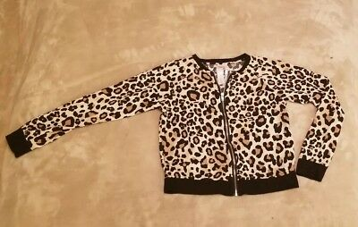 Justice girls leopard print long sleeve zip up size 8 NICE Hardly Worn