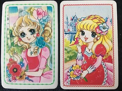 Swap Playing Cards 2 Japanese 1980's  Wide Eye Girls & Flowers Anime A251