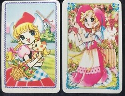 Swap Playing Cards 2 Japanese 1980's  Wide Eye Girls Anime & Flowers A253