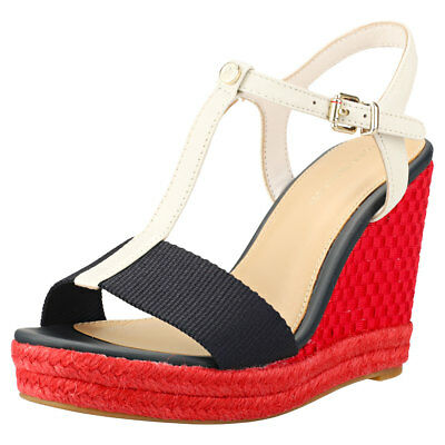 e48a5a1cacd3a4 Tommy Hilfiger Iconic Elena Pop Color Wedge Womens Navy Red Blue Sandals