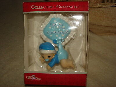 "Adorable Baby Boy Hanging From A Diaper Pin ""baby's First Christmas"" Ornament"