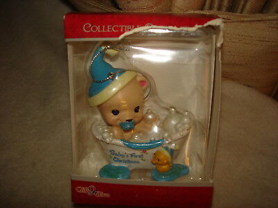 "Adorable Baby Boy In A Bubble Bath ""baby's First Christmas"" Ornament"