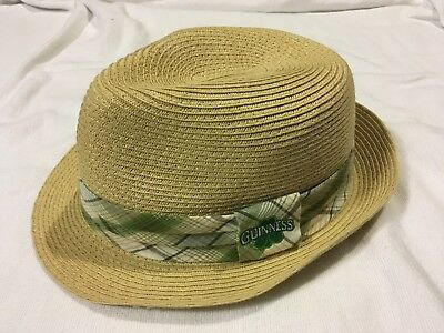 Official Guinness Paper Straw Fedora Cap Hat Very Nice L/XL