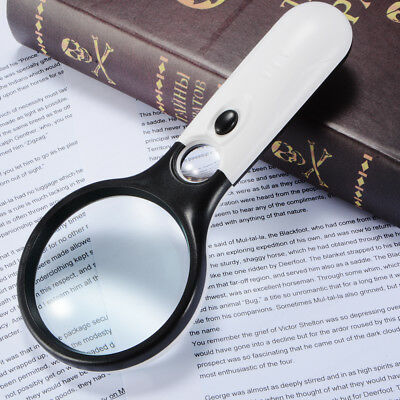 Magnifier 3X 45X Magnification Handheld Magnifying Glass Lens 3 LED Loupe FA322