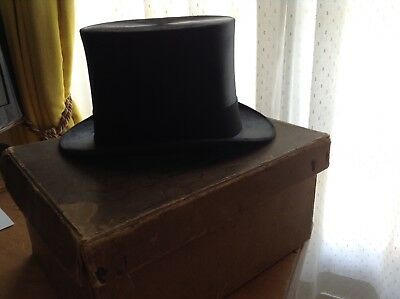 """Antique Black Silk Top Hat size Large 7 3/8""""/60cm made in London 1900s"""