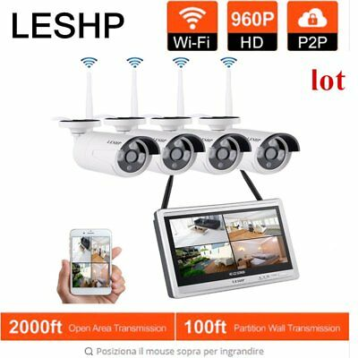 """LESHP 4CH WIFI NVR with 12"""" Monitor Security System & 4Pcs 960P 1.3MP Camera  AS"""
