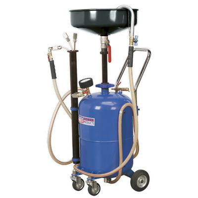 AK456DX Sealey Mobile Oil Drainer with Probes 35ltr Air Discharge