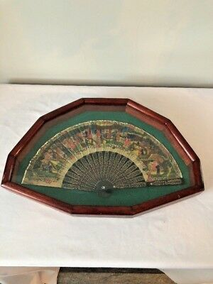 Vintage Hand Painted Asian Hand Fan In Frame-Art Chinese or Japanese