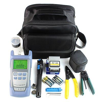 18PCS Fiber Optic FTTH Tool Kit With FC-6S Cutter Cleaver Optical Power Meter SW