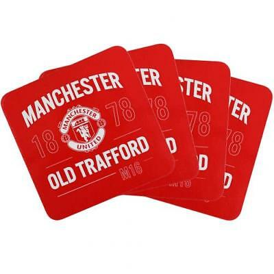 Manchester United FC Official Crested 4 Pack Square Coaster Set Tea Coffee