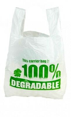 "100 x Large Biodegradable Carrier Bags | 11"" x 17"" x 21"" 