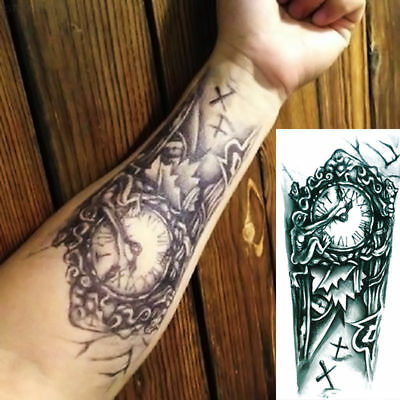 7971 Newest Temporary Tattoo Arm Sticker Clock Pattern Decal Creative Fake Tatto