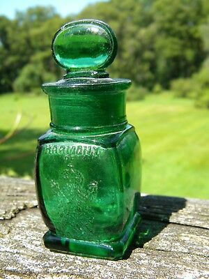 Antique Embossed Green Harmony of Boston Smelling Salts Bottle Partial Label