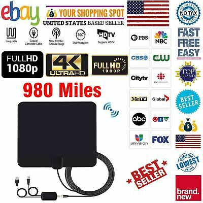 New Indoor HD 4K TV HDTV Antenna VHF UHF Fox with Amplifier Bandit 300 Miles