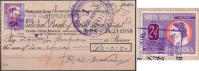 SOUTH AFRICA 1954, 6d, RARE POSTAGE STAMP USED AS REVENUE ON BANK CHEQUE.  #K148