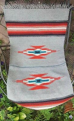GREAT CONDITION Old Navajo Indian Rug - Red Black Grey wool nice!