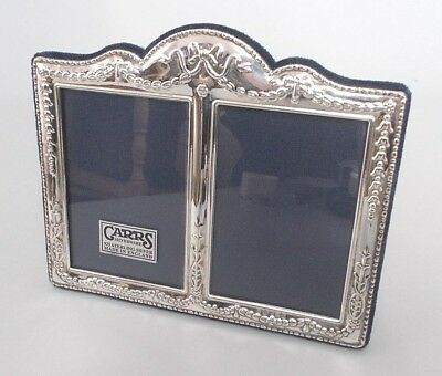 Boxed solid silver 6'' x 5'' twin photo frame, Carrs, Sheffield 2000 - unused