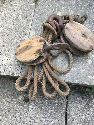 Old Vintage Wood Block And Tackle Pulley Rope Set