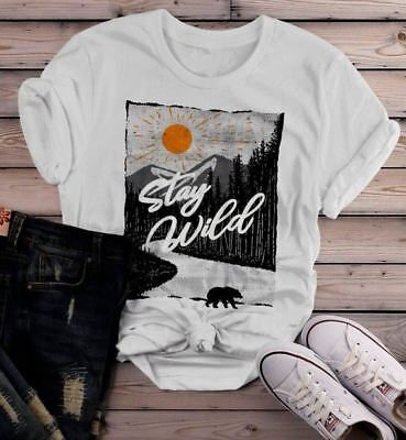72cc39772 Women's Stay Wild T Shirt Hand Drawn Nature Shirts Bear Woods Hipster  Forest Exp