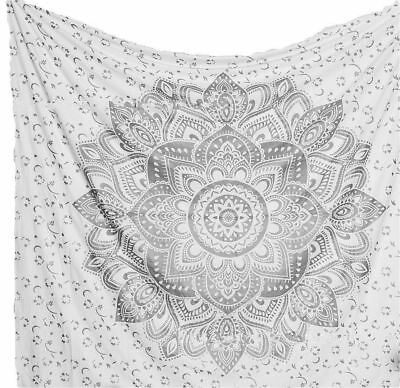 Glittering Silver Ombre Mandala Cotton Indian Tapestry Bohemian Wall Hanging