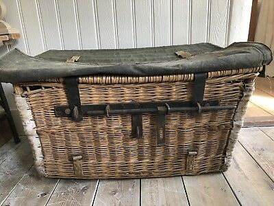 WICKER STEAMER TRUNK VICTORIAN CANOPY ROPE HANDLES COUNTRY HOUSE ESTATE 1870s