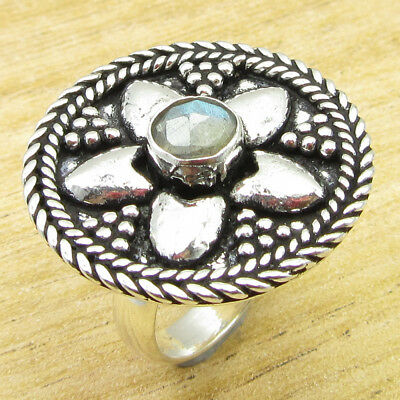 Wonderful Labradorite ANCIENT STYLE Ring Size 6 ! Silver Plated Metal Jewelry