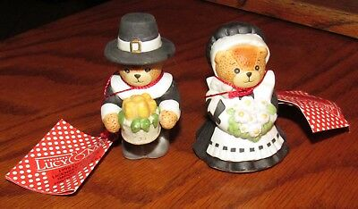 2 Vintage New Old Stock Lucy & Me, Pilgrim Bear Figurines