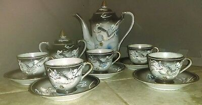 12 Piece Japanese Hand Crafted Dragon Inspired Tea Set* BEAUTIFUL!!