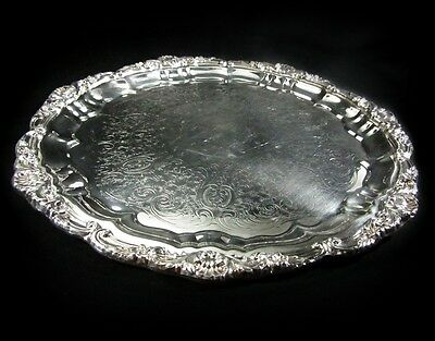 "Towle Silverplated 12"" Round Etched Tray With Ornate Rim"
