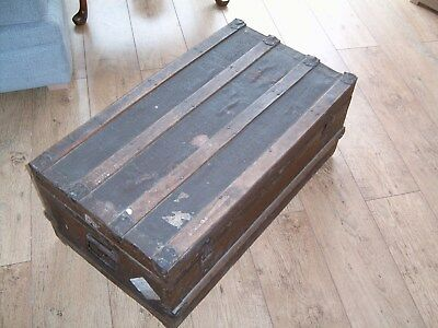 Vintage Blanket Toy Box Tack Chest Steamer Cabin Travel Trunk Suitcase Storage