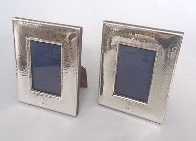 Pair contemporary solid silver 4.5''x3.5'' photo frames, Ray Hall, B'ham c.1990s