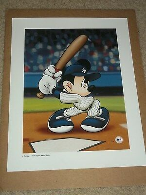 "Mickey Mouse Limited Edition New York Yankees ""mickey At The Plate"" 16X20 Giclee"