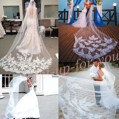 3M/2/1.5M Long Ivory/White Lace Applique Edge Wedding Bridal Cathedral Veil Comb