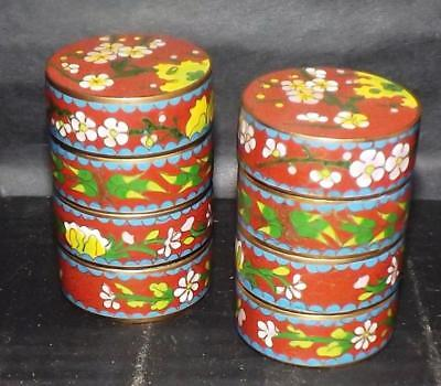 Estate Pair Chinese Cloisonne Stacking Trinket Pill Box Flowers Floral