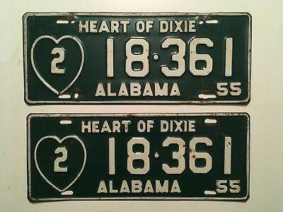 1955 Alabama License Plate PAIR Plates Heart of Dixie Mobile County YOM Original