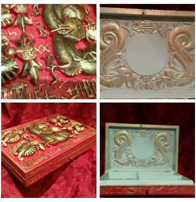 Antique Chinese Carved Wooden Dragon Box- WORKING LOCK/KEY refurbished antique