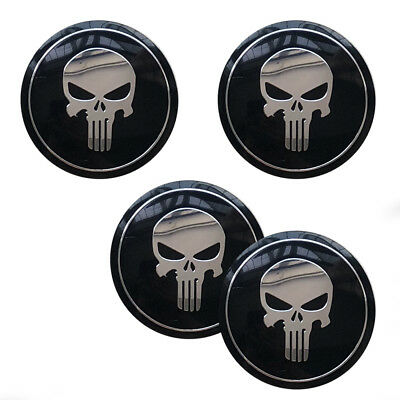 4X56.5mm The Punisher Skull Car Wheel Center Cap Emblem Badge logo Stickers