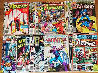 Marvel lot 23 AVENGERS#142,191,198,212,215,219,224,227,229,234-240 HAWKEYE#1-4++