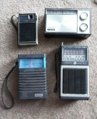 Lot 4 Vintage Transistor Radios: 2 General Electric, Elgin, Grundig