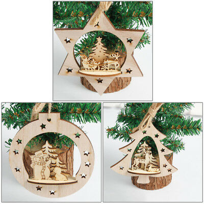 3D christmas decorations pendant wood carved Christmas pendant RAHN