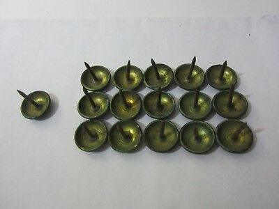 """- OLD - 15 BRASS TACKS 9/16""""  - round head vintage upholstery trunk chest + 1"""