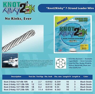 Knot 2 Kinky Advanced Strecth Wire Leader Nickel Titanium 7 Strand Leader Wire