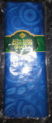 Bazin Riche Brocade African Garment Fabric  5 Yards 100% Cotton - Royal Blue