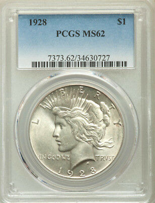 1928 * PCGS MS62 * Silver PEACE Dollar $1 * $525+++ BLAST WHITE Super Key-Date !