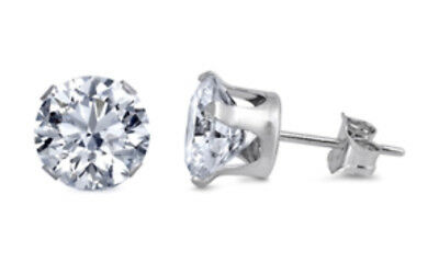 Sterling Silver Cubic Zirconia Round Shaped Stud Earrings, Sizes 2 mm - 6 mm