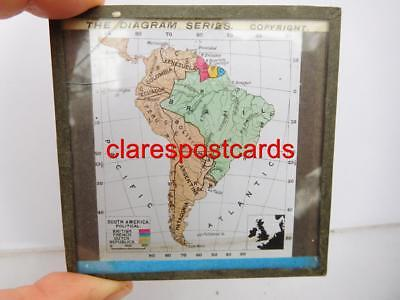 Political Map South America Victorian magic lantern slide colonial geography