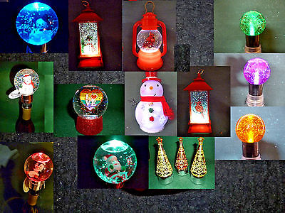 Hallmark Bag Snow Globes Wine Stoppers Changing Color Pulsing Colors Glitter NEW
