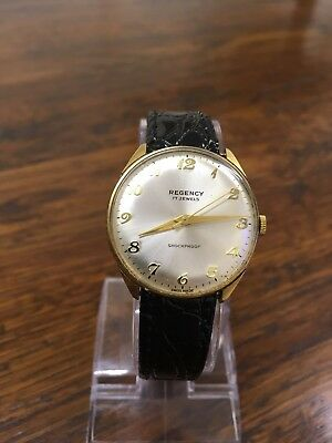 vintage Regency mens watch, 17 jewels, swiss made, new leather strap